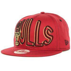 New Era Chicago Bulls Name Red Gold Snapback Hat
